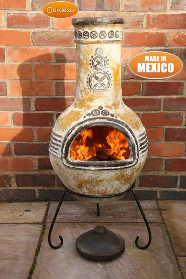 Mexican EXTRA LARGE Clay Chimenea Sol Chiminea Patio Heater Rustic Fire Bowl
